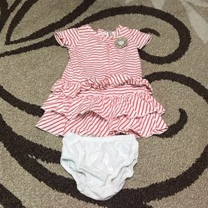 Carter's 12 month dress orange & cream stripes